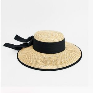 ASOS Wide Band Natural Straw Boater Hat With Bow